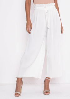 PleatedCropped Wide Leg Culotte Trousers White