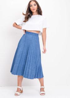 Pleated Denim Midi Skirt Dark Blue