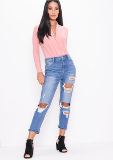 Pleated Long Sleeve Plunge Bodysuit Pink