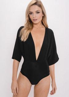 Plunge Batwing Sleeve Bodysuit Black