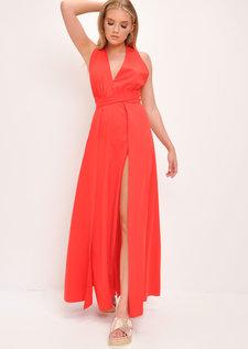 Plunge Front Split Leg Maxi Dress Red