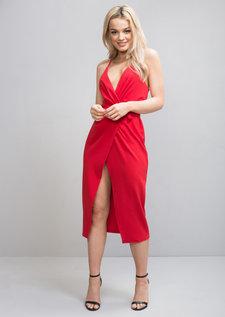 Plunge Wrap Over Tie Midi Dress Red