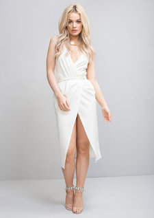 Plunge Wrap Over Tie Midi Dress White