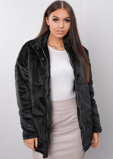 Plush Faux Fur Padded Puffer Jacket Coat Black