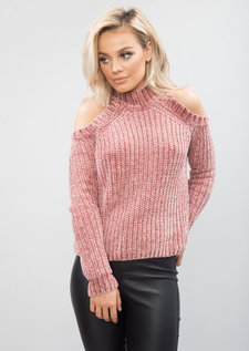 Plush Knit High Neck Cold Shoulder Jumper Pink