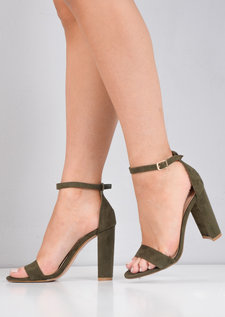 Pointed Strappy Chunky Heeled Sandals Faux Suede Khaki Green