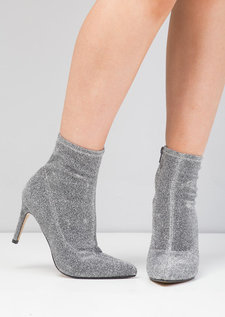 Pointed Toe Heeled Shoe Boot Faux Suede Metallic Silver
