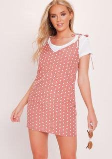 Polka Dot Cami Slip Dress Pink