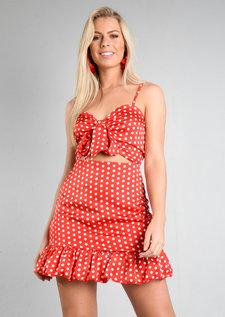 Polka Dot Tie Front Mini Dress Red