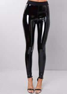 PU Vinyl Skinny High Shine Legging Trousers Black