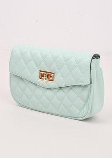 Quilted Cross Body Detachable Belt Bum Bag Mint Green