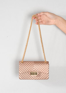 Quilted Gold Chain Clutch Bag Gold