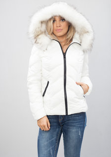 Quilted Padded Contrast Zip Puffer Coat White