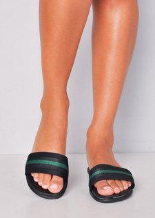 Green Stripe Flat Sliders Black
