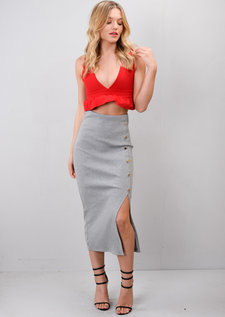 Ribbed Button Side Split Bodycon Midi Skirt Grey