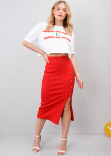 Ribbed Button Side Split Bodycon Midi Skirt Red