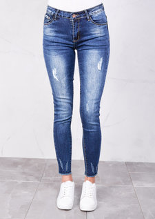 Ripped Skinny Fit Fringe Hem Denim Jeans Blue