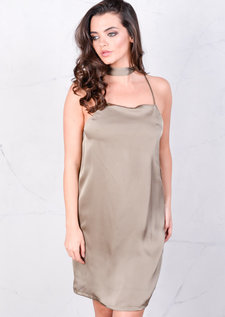 Satin Belted Silky Cami Spaghetti Strap Dress Olive Green