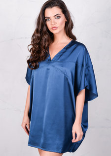Satin Silk Oversized Kimono Dress Navy