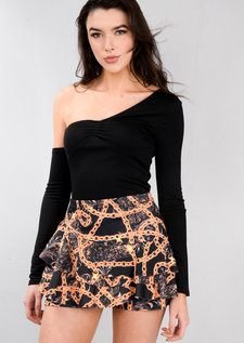 Scarf Print Layered Frill Mini Skort Black