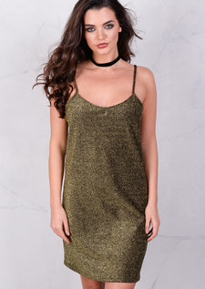 Scoop Neck Strappy Glitter Cami Dress Black Gold