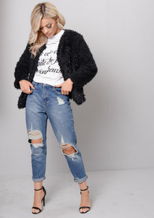 Plush Faux Fur Cropped Jacket Black