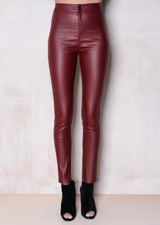 High Waisted Faux Leather Look Jeans Burgundy
