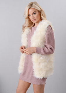 Soft Touch Faux Fur Gilet White