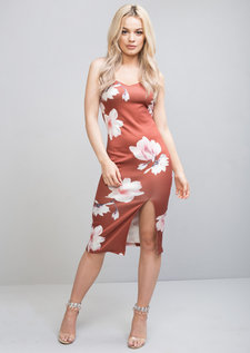 Strappy Floral Midi Bodycon Dress Rust Red