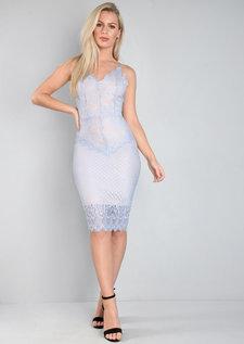 Strappy Plunge Neck Lace Midi Bodycon Dress Dusty Blue