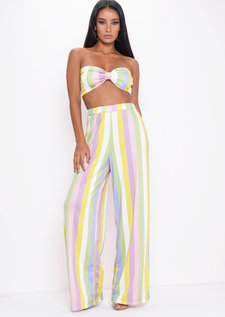 Stripe Bow Crop Top Wide Leg Trousers Co Ord Multi