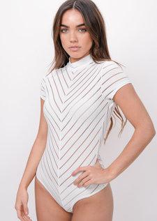 Stripe High Neck Bodysuit White