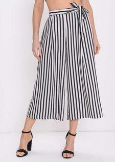 Stripe Tie Waist Culottes Trousers White