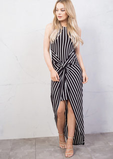 Stripe Twist Knot Dip Hem Maxi Dress Black