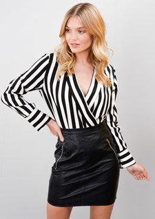 Stripe Wrap Over Shirt Style Bodysuit Black