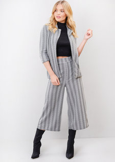 Pinstripe Chevron Blazer Suit Culotte Co Ord Set Grey
