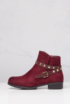 Studded Chelsea Ankle Boots Burgundy Red