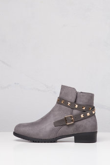 Studded Chelsea Ankle Boots Grey