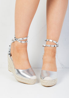 Studded Espadrille Wedge Sandals Silver