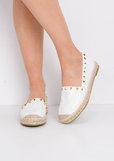 Studded Espadrilles Flats White