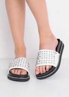 Studded Flatform Sliders White