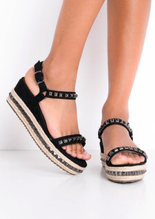 Studded Strappy Wedge Platform Espadrille Sandals Black