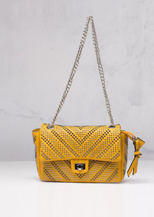 Studded Shoulder Bag with Silver Chain Mustard Yellow