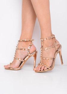 Studded Strappy Metallic Stiletto Heeled Sandals Rose Gold