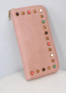 Studded Zip Around Purse Pink