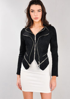 Suede Double Zip Collar Biker Jacket Black
