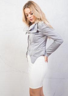 Suede Double Zip Collar Biker Jacket Grey