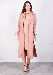 Suede Feel Duster Jacket Trench Coat Tie Sleeve Rose Pink