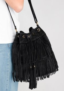 Tassel Fringe Faux Suede Bucket Bag Black