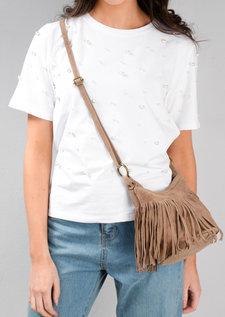Tassel Fringe Suede Cross Body Boho Festival Bag Beige